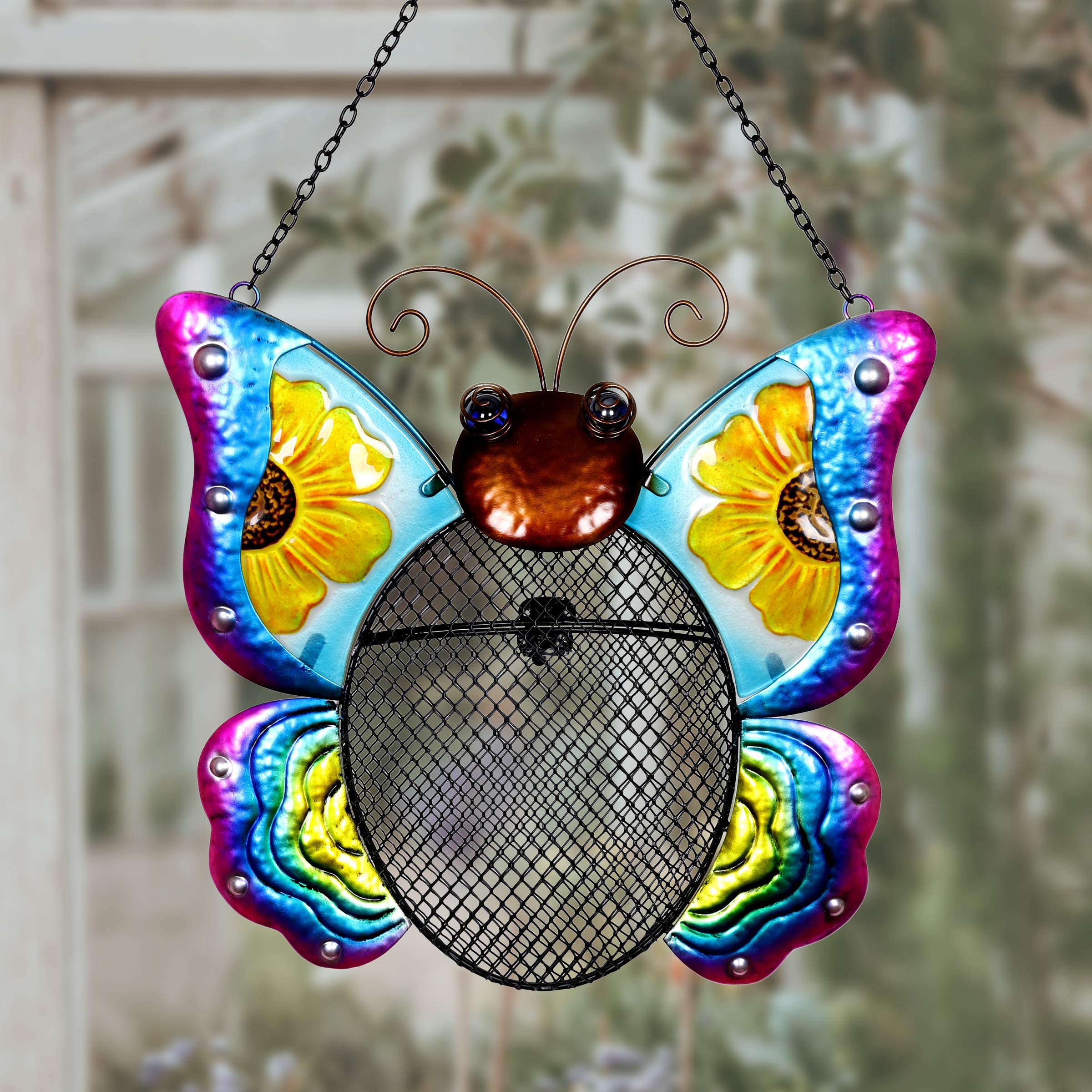 Exhart Metal Butterfly Hanging Bird Feeder w/Metal Mesh Seed Basket – Features Bright Sunflower Painting on Gradient Blue & Purple Butterfly Wings, Garden Art Metal Bird Feeders, 12 x 19 Inches