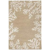 """Liora Manne Capri Shell Coral Reef Border Coastal Ocean Indoor/Outdoor Rug 3'6"""" X 5'6"""" Natural Cream and Ivory"""