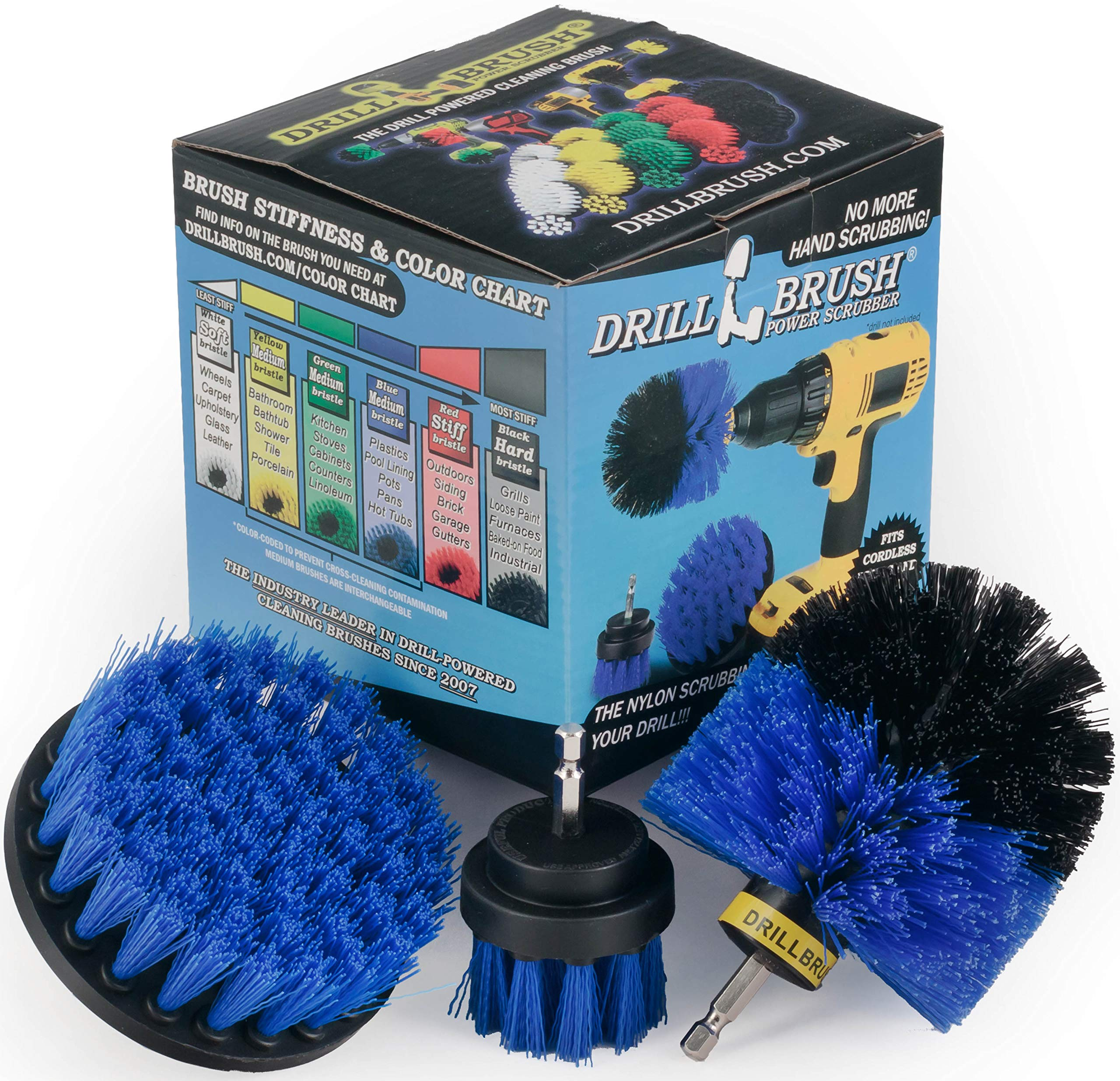 Boat Accessories - Kayak - Cleaning Supplies - Drill Brush - Rotary Cleaning Brushes for Boats And Watercraft - Canoes, Bass Boat - Fiberglass, Aluminum, Gel Coat, Wood, Painted - Hull and Deck