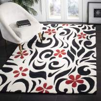 "Safavieh Soho Collection SOH725A Handmade Ivory and Black Premium Wool Area Rug (7'6"" x 9'6"")"