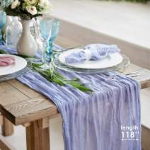 Gauze table runner bulk - Cheesecloth table cloth - Holiday table runner for wedding - Rustic table runner 160 in - Boho chick wedding table cloth - Long table runner for romantic dinner (Blue Lilac)