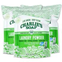 Charlie's Soap Laundry Powder (100 Loads, 3 Pack) Hypoallergenic Deep Cleaning Washing Powder Detergent – Eco-Friendly, Safe, and Effective