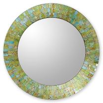 NOVICA Light Green Glass Mosaic Wood Frame Wall Mounted Mirror, Turquoise Sunset'