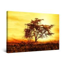 "Startonight Canvas Wall Art Abstract Surreal Tree Golden Sky Sunset Painting Framed 24"" x 36"""