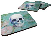 Caroline's Treasures Day of The Dead Teal Skull Foam Coaster Set of 4, 3.5, Multicolor