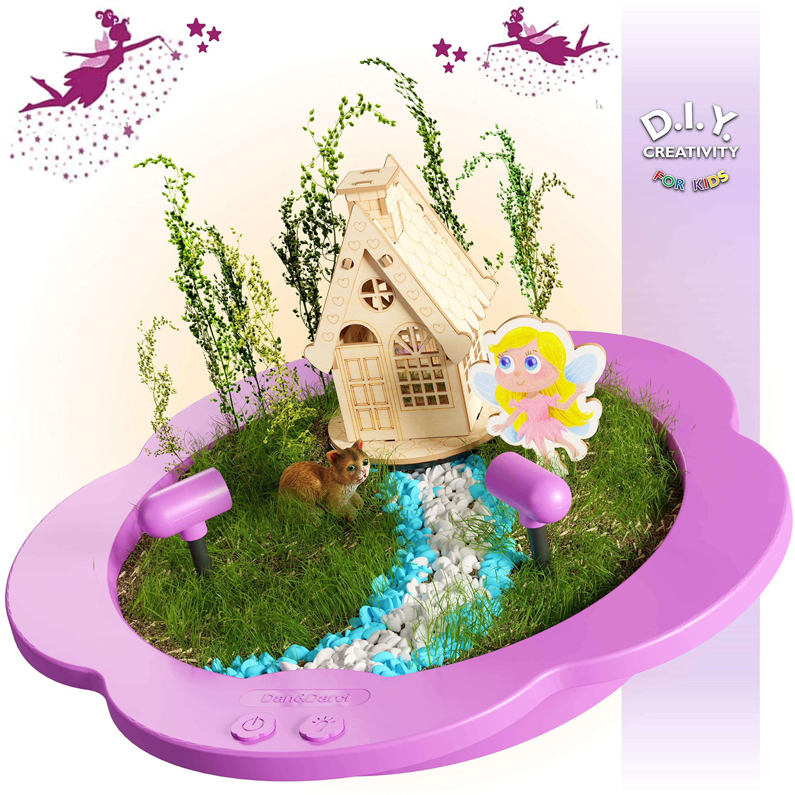 Light-up Fairy Garden Kit for Kids - Craft & Grow Your Own Indoor Gardening - Gift for Girls & Boys : Includes Everything for Planting a DIY Magical Enchanted Gardens - Fun STEM Crafts - Arts Toy Kits