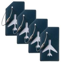 Gostwo Leather Luggage Tags Bag Tag Stainless Steel Loop (green peacock 4 pcs set)