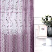 Jiyoyo Embroidered Lace Sheer Curtain for Living Room Bedroom,Rod Pocket Flower Voile Drapes/Panels, (Purple with Silver Threading Embroidery, 50 by 63 Inch,1 Panel)