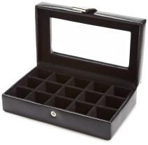 WOLF 290102 Heritage 15 Piece Cufflink Box with Glass, Black
