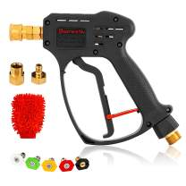 Dearworth Pressure Washer Gun – Power Washer Gun with 360-degree Swivel – 5000PSI Pressure Water Gun – Water Spray Gun with 5 Nozzle Tips, 1/4 Quick Connect Outlet and Cleaning Mitt