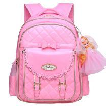 Bookbag for Girls,Waterproof PU Leather Kids Backpack Cute School Bookbag for Girls (Pink, Large)