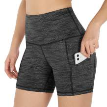 """ODODOS Women's 9""""/5""""/2.5"""" High Waist Yoga Shorts, Biker Workout Running Compression Exercise Shorts, Out Pockets"""