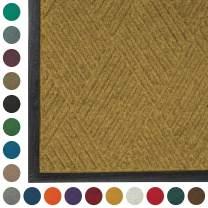 WaterHog Diamond   Commercial-Grade Entrance Mat with Rubber Border – Indoor/Outdoor, Quick Drying, Stain Resistant Door Mat (Medium Brown, 4' x 10')