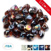 Li Decor 20lb 1 Inch Fire Glass Gas Fire Pit Glass Fireglass Rocks Outdoors Indoors Amber Luster Brown