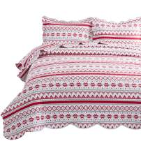 Bedsure Christmas Quilt Set King Size (106x96 inches) - Festive Printed Pattern - Soft Microfiber Lightweight Coverlet Bedspread for All Season - 3-Piece Bedding (1 Quilt + 2 Pillow Shams)