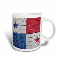 3dRose 156964_5 National flag of Panama painted onto a brick wall Panamanian Mug, 11 oz, Red