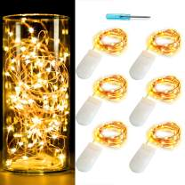6PCS 10ft(3m) LED Starry String Lights 30 Micro Leds on Copper Wire,Fairy Lights Battery Powered by 2x CR2032(Included),For DIY Wedding Centerpiece Table Decorations (Copper Warm White)