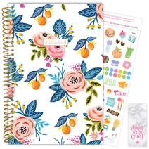 """bloom daily planners 2020-2021 Academic Year Day Planner & Calendar (July 2020 - July 2021) - 6"""" x 8.25"""" - Weekly/Monthly Agenda Organizer with Stickers and Bookmark - Orange Blossoms"""