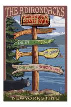 The Adirondacks, New York State - Destinations Sign (Premium 1000 Piece Jigsaw Puzzle for Adults, 20x30, Made in USA!)