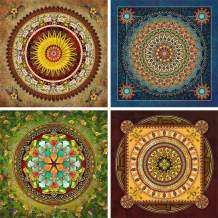HaiMay 4 Pack 5D DIY Diamond Painting Set Decorating Cabinet Table Stickers Full Drill Rhinestone Diamond Embroidery Paintings Pictures, Mandala Flower Painting(25X25CM/9.8X9.8inch)