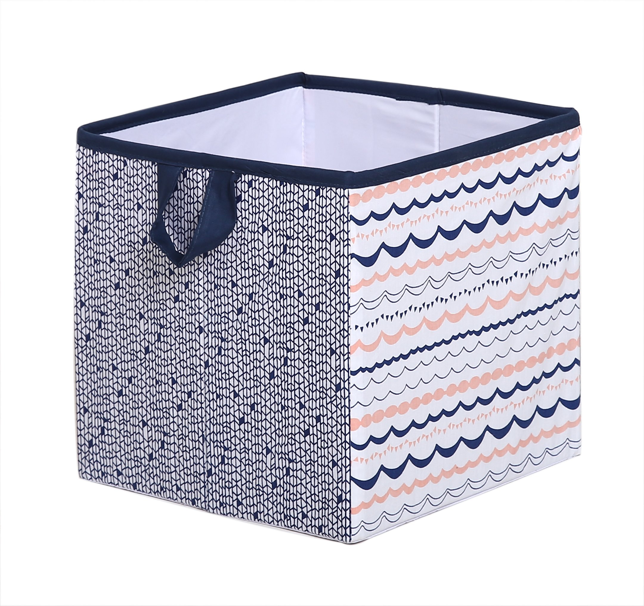 Tribal/Aztec Kids Storage (Small Tote 10 x 10 x 10 inches, Coral/Navy)