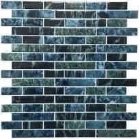 "Crystiles 12""x12"" Vinyl Peel and Stick Backsplash Tile, Multi-Color Marble,""Pro"" Series Thicker Version, 1 Sheet Sample"