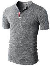 H2H Mens Summer Casual V-Neck Button Cuffs Cardigan Short Sleeve T-Shirts