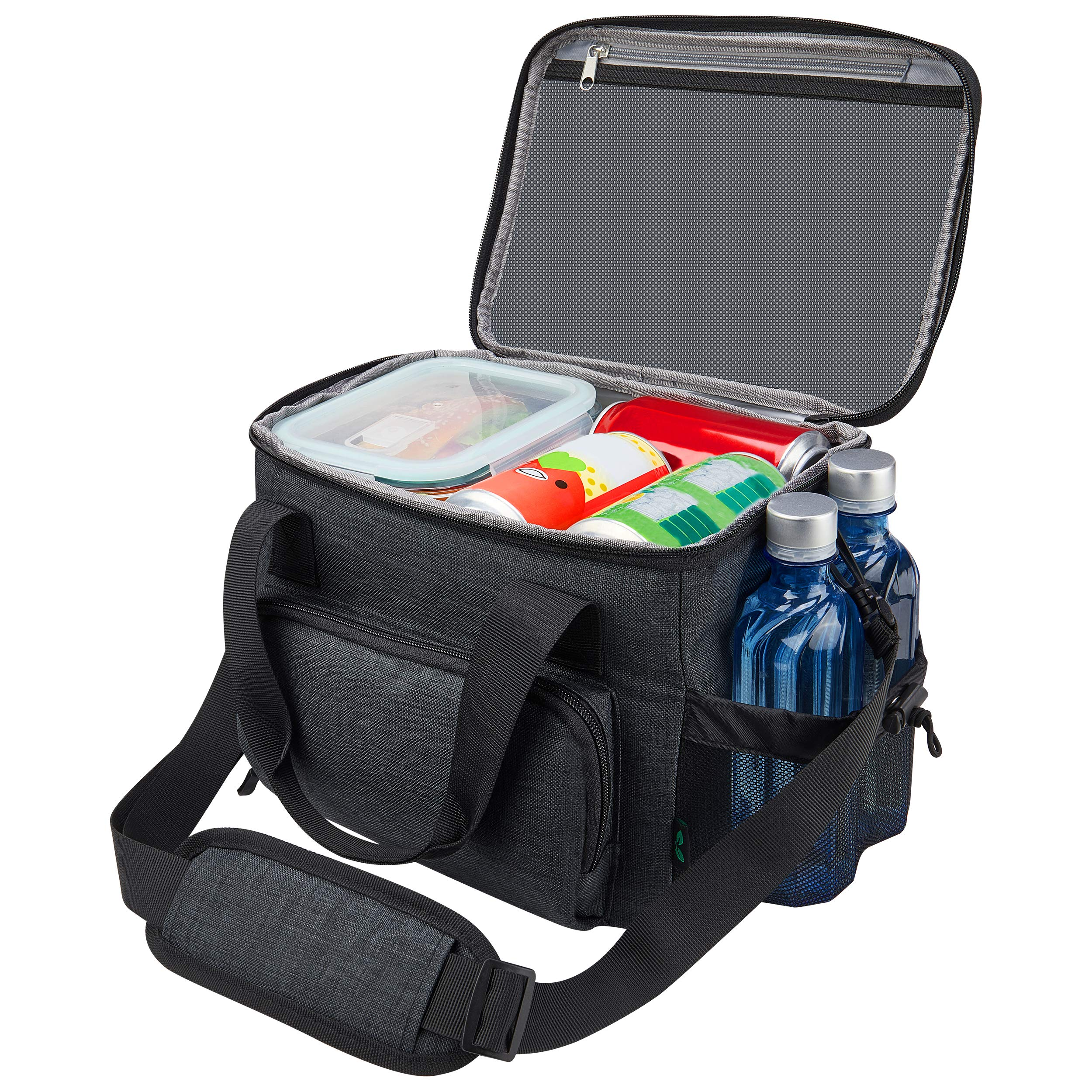Lunch Box for Men, 18 cans Large Leak-proof Insulated Big Lunch Box, Lunchbox Adult Men with Shoulder Strap and Side Pocket for Work and Outdoor