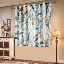 Subrtex Printed Curtains Blackout for Bedroom Living Room Kids Room Dining Room Valance Colorful Window Drapes 2 Panel Set (52'' x 63'' , Blue)