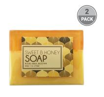 BeautyFrizz Natural Honey Soap Bar - Gentle Moisturizing Body Soap with Olive Oil & Cocoa Butter - Hydrating Soap to Cleanse and Brighten Skin - Scented Soap for Women (Honey, 2 Pack)
