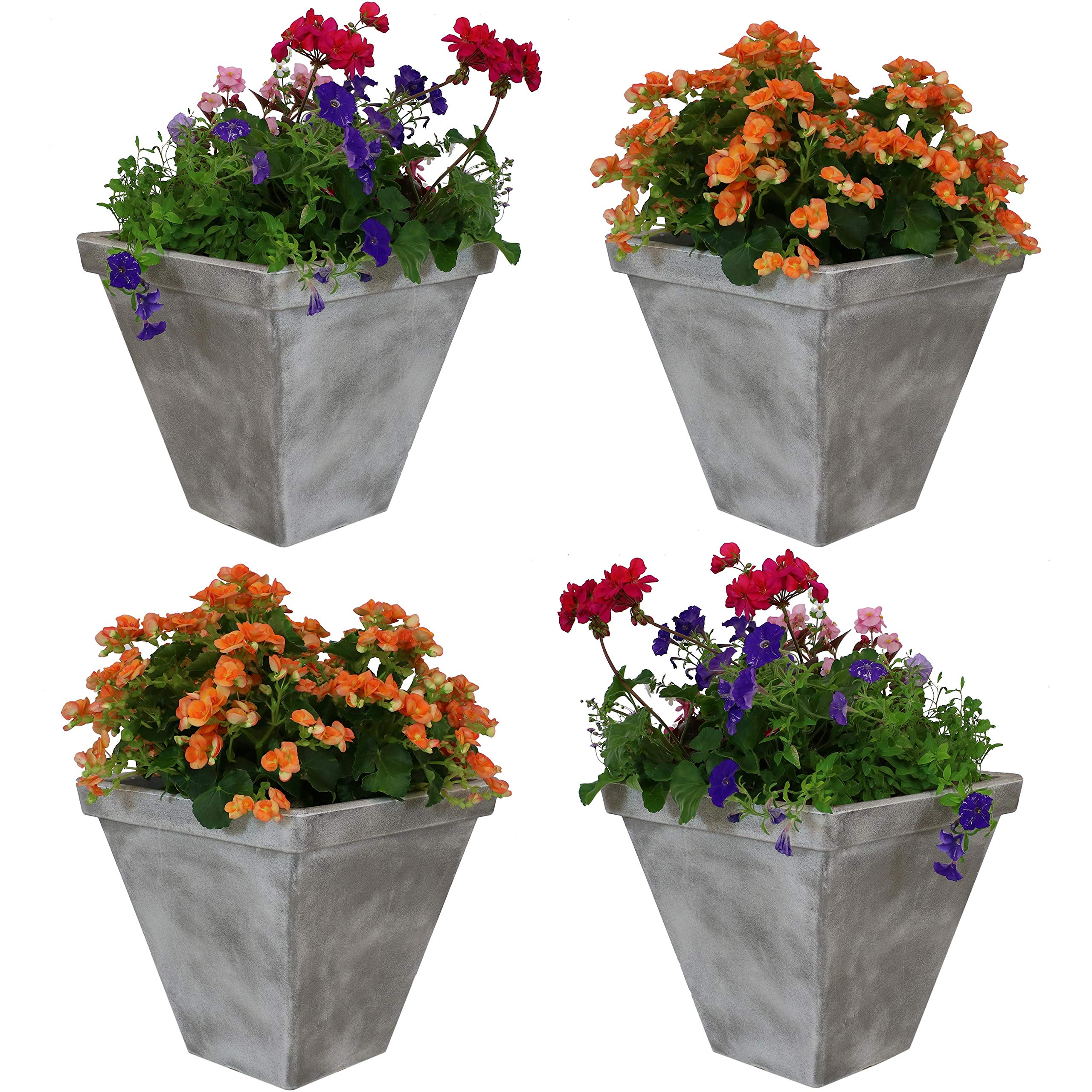 Sunnydaze Hamilton Outdoor/Indoor Planter Pot, Heavy-Duty Double-Walled Polyresin with UV-Resistant Antique Quarry Finish, Set of 4, 16-Inch