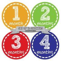 Months In Motion Gender Neutral Baby Month Stickers - Monthly Milestone Sticker for Boy or Girl - Infant Photo Prop for First Year - Shower Gift - Newborn Keepsakes - Unisex - Style 023