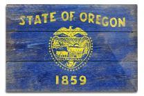 Lantern Press Rustic Oregon State Flag 52569 (6x9 Aluminum Wall Sign, Wall Decor Ready to Hang)