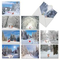 10 Assorted 'Santa Paths' Greeting Cards with Envelopes 4 x 5.12 inch - Blank Note Cards with Snowy Paths and Superimposed Cartoon Santas, Stationery for Christmas, Birthdays, Holidays M6716XSB