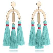 Boho Chic Geometric Metal with Dangled Colorful Tassel Statement Earrings
