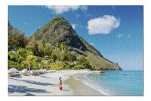Woman Walking on The Beach in a Red Dress in St Lucia 9017631 (Premium 1000 Piece Jigsaw Puzzle for Adults, 20x30, Made in USA!)