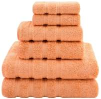 American Soft Linen Premium, Luxury Hotel & Spa Quality, 6 Piece Kitchen & Bathroom Turkish Genuine Cotton Towel Set, for Maximum Softness & Absorbency, [Worth $72.95] Malibu Peach