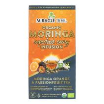 Miracle Tree's Energizing Moringa Infusion - Orange & Passionfruit   Super Caffeinated Blend   Coffee Alternative, Perfect for Focus   Organic Certified & Non-GMO   16 Pyramid Sachets