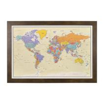 Push Pin Travel Maps with Rustic Brown Frame and Pins - 27.5 inches x 39.5 inches - Tan Oceans