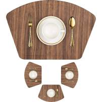 IMMOKAZ Round Placemat for Dining Heat Insulation Stain Resistant Non-Slip Waterproof Washable Wipe Clean PU Fan Shape Wedge Kitchen Table Mat Set (4, Pu_Wood Brown)