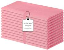 Cotton Clinic Cloth Dinner Napkins 20x20-12 Pack, 100% Cotton Soft Light and Comfortable Cocktail Napkins, Wedding Dinner Napkins with Mitered Corners and Generous Hem - Baby Pink