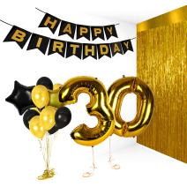 Treasures Gifted Golden Happy 30th Birthday Party Decorations Metallic Number Balloons and Photo Booth Props Valentines Bday Foil Banner Supplies