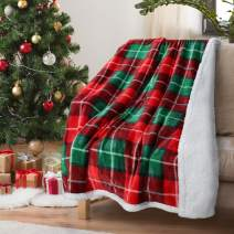 "Red Buffalo Plaid Christmas Throw TV Sherpa Blanket 50"" x 60"", Super Soft Warm Comfy Plush Fleece Bedding Couch Cabin Decorative Throw Blanket"