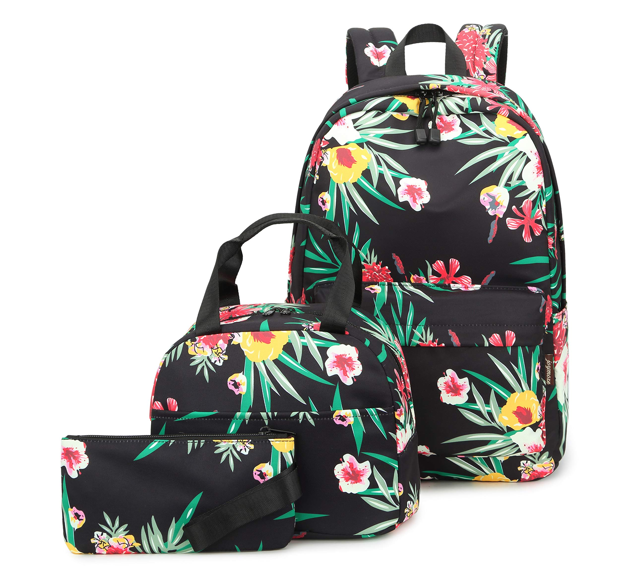 Joymoze Water Resistant Teen Girl Bookbag with Lunch Bag and Pencil Purse Green Flower