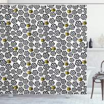 """Ambesonne Bee Shower Curtain, Silhouette Floral Pattern with Colored Cartoon Bees Flying in Botany Nature, Cloth Fabric Bathroom Decor Set with Hooks, 70"""" Long, Yellow White"""