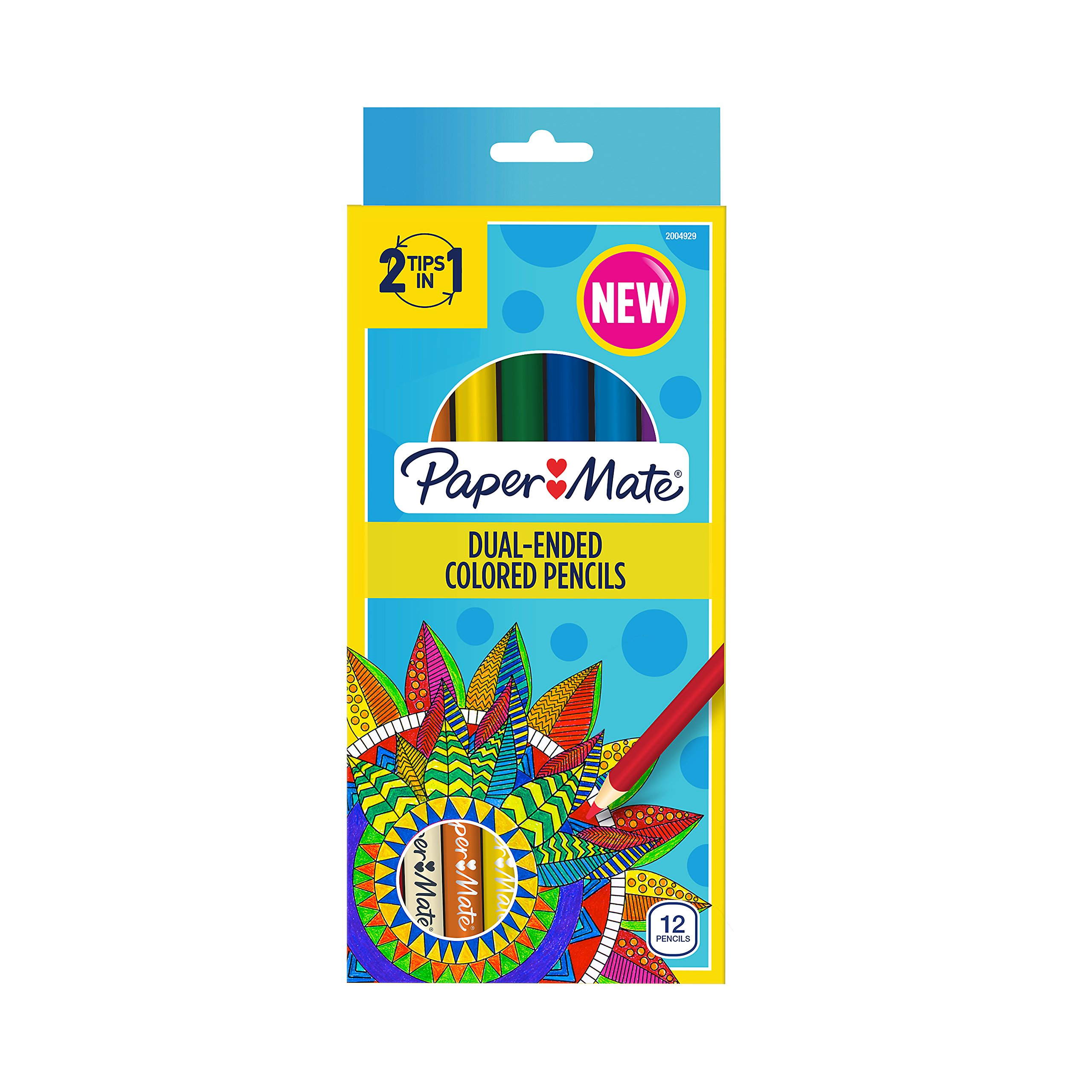 Paper Mate Dual Ended Colored Pencils, Assorted Color, Pre Sharpened, 12 Count (2004971)