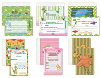 Creanoso Invitation Cards (12-Pack) – Dinosaur Theme Birthday Party Decorations – Cool Dinosaur Party Supplies – Gift Token Ideas for Kids, Boys, Girls, Teens - Thank You Cards with Envelopes – DIY
