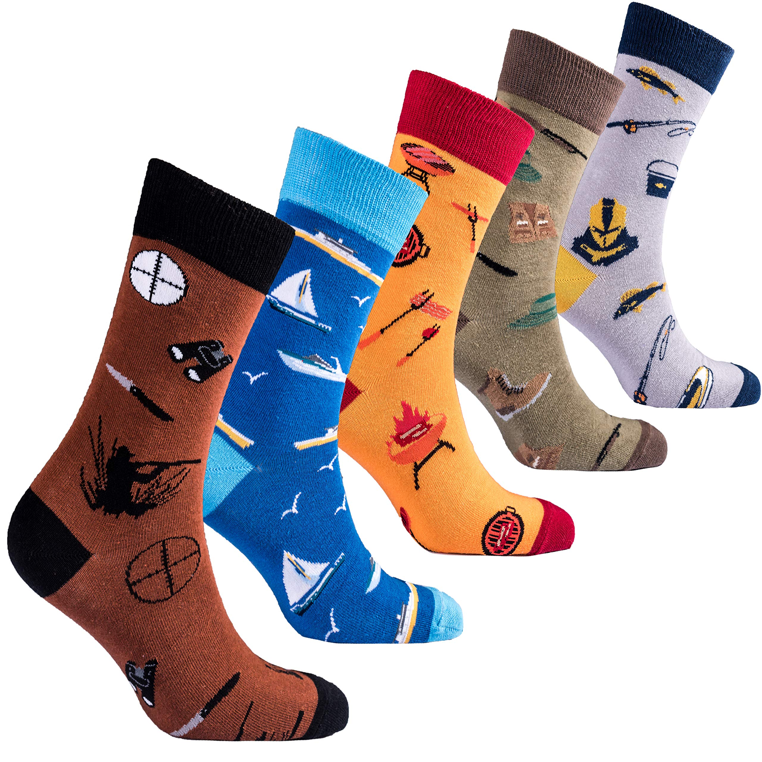 Socks n Socks-Men 5pk Colorful Cotton Novelty Hunter Fisherman BBQ Sock Gift Box