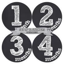 Months In Motion Gender Neutral Baby Month Stickers - Monthly Milestone Sticker for Boy or Girl - Infant Photo Prop for First Year - Shower Gift - Newborn Keepsakes - Unisex- Chalkboard
