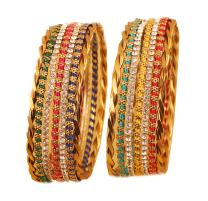 Touchstone New Colorful Bangles Collection. Indian Bollywood Enchanting Traditional Multi Color Braid Theme Thin Designer Jewelry Bangle Bracelets. Set of 12. in Antique Gold Tone for Women.